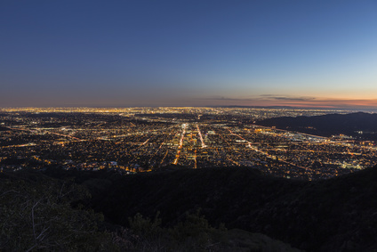 Night mountaintop view of Los Angeles and Glendale, California