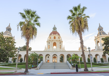 The beautiful and classical Pasadena City Hall near Los Angeles, California